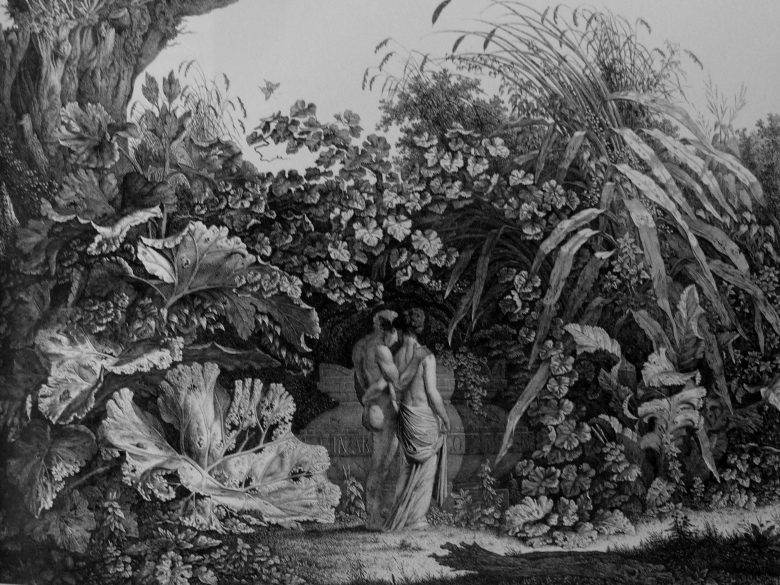 Bildliche Darstellung eines locus amoenus in einer Zeichnung des Kuenstlers Carl Wilhelm Kolbe