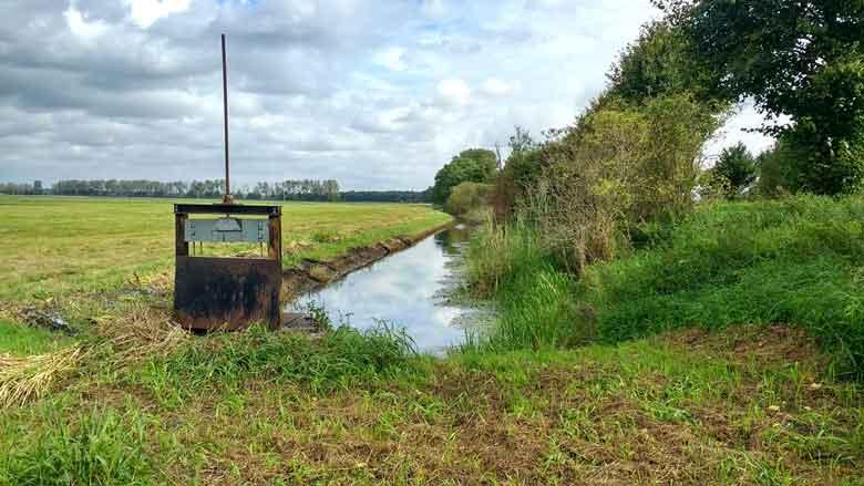 Bild eines Entwässerungsgrabens im Rhinluch bei einer Havel Motorradtour