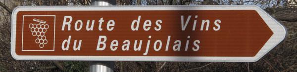 Bild des Strassenschildes der Weinstrasse im Beaujolais