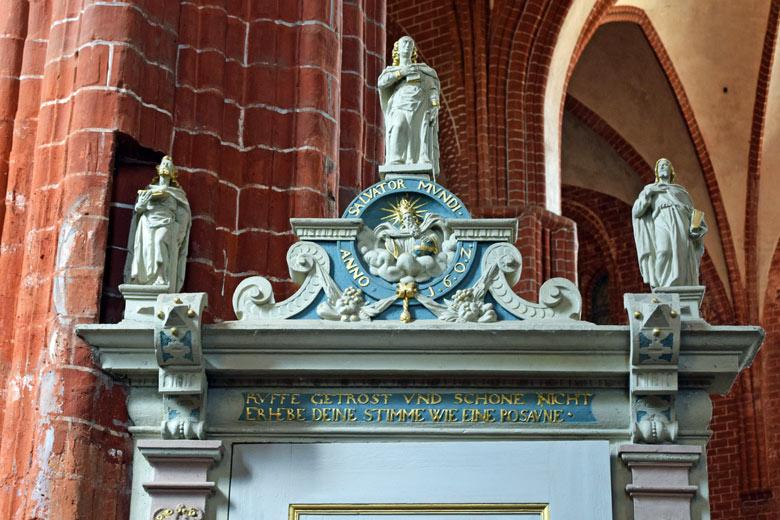 Bild vom Kanzelaufgang der St. Johanniskirche in der Hansestadt Werben