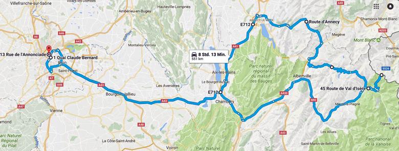 Karte der Strecke Motorradtour zum Kleinen St Bernhard