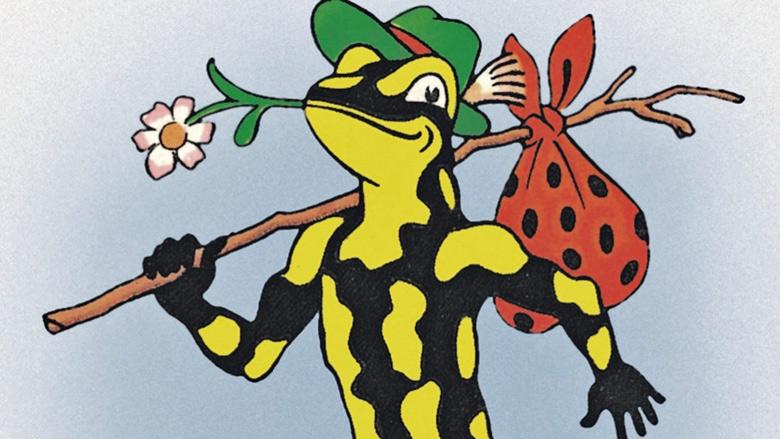 Bild von der Comic Figur Lurchi aus dem Reklameheftchen Lurchis Abenteuer als Erinnerung an die ferne Jugend