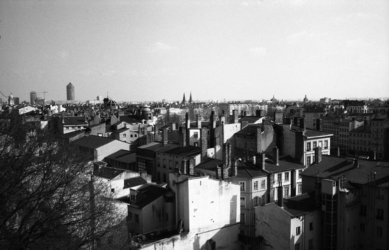 Bild vom Stadtpanorama Lyon mit Hochhaeusern im Hintergrund und einer Flussschleife der Saone