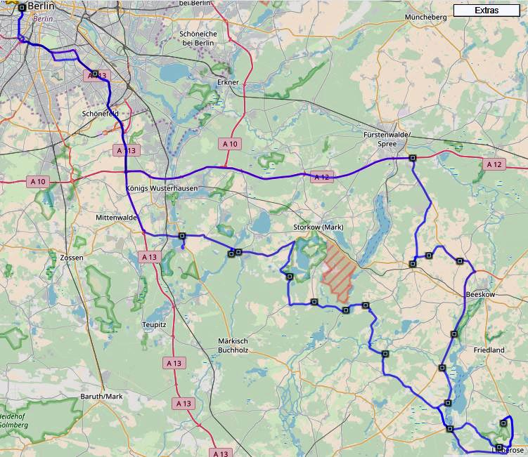Streckenplan Lausitztour mit dem Motorrad von Berlin in die Niederlausitz