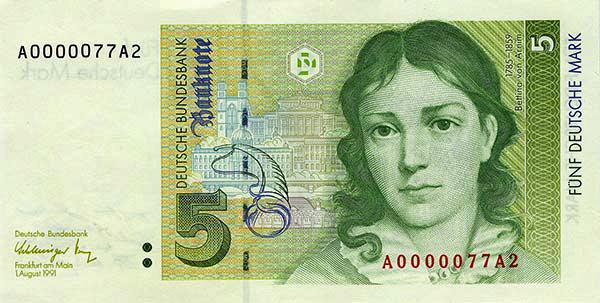 Grüner 5-DM-Schein mit der Abbildung Bettinas von Arnim
