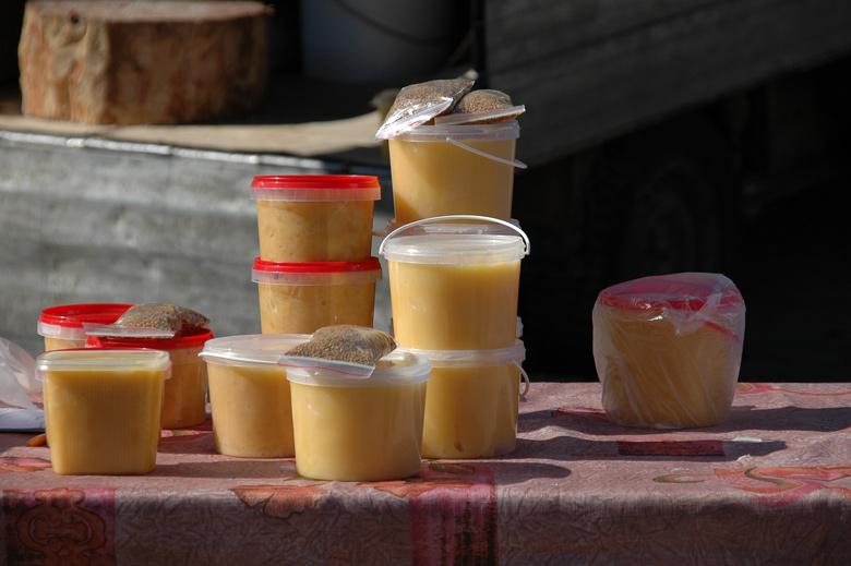 Bild vom Honigverkauf auf einem Moskauer Markt