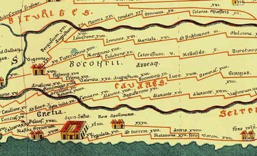 Bild eines Ausschnittes der Peutingerschen Tafel, einer mittelalterlichen karthographischen Darstellung des römischen Straßennetzes