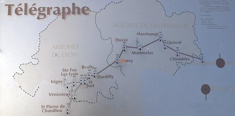 Bild der Telegraphenlinie durch das Beaujolais mit mehreren Telegraphenstationen