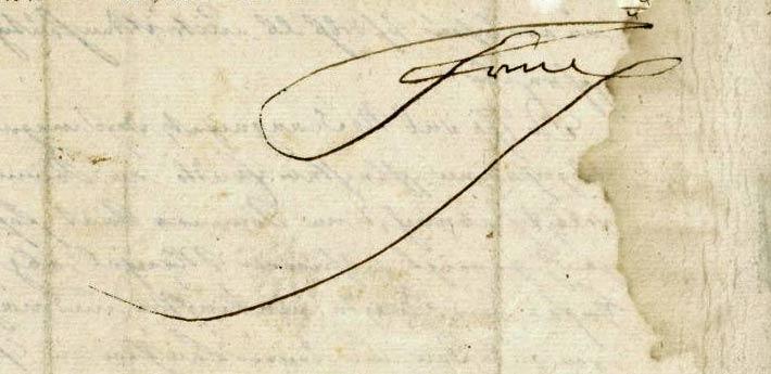 Unterschrift Friedrichs des Großen auf einem eigenhändigen Brief (Ausschnitt)