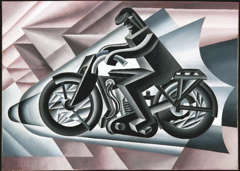 Bild von Fortunato Depero mit dem Bild eines Motorradfahrers als Beispiel für die Bedeutung der Konzentration beim Motorradfahren