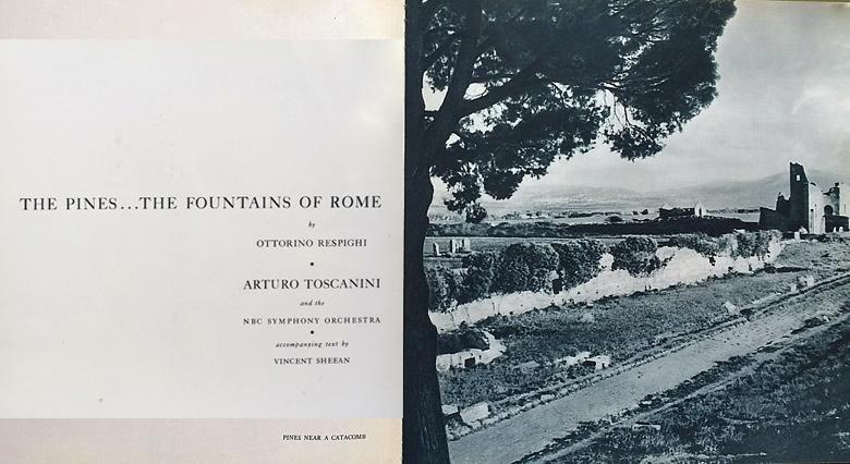 Bild einer Schallplattenkassette von Ottorino Respighi, I Pini di Roma mit einer Pinie und antiken Bautenals Sinnbild des Aufbruchs zu einer Motorradtour durch Umbrien