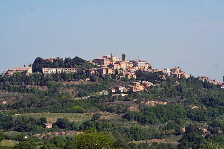 Stadtansicht von Montepulciano mit Gärten und Weinbergen im Vordergrund