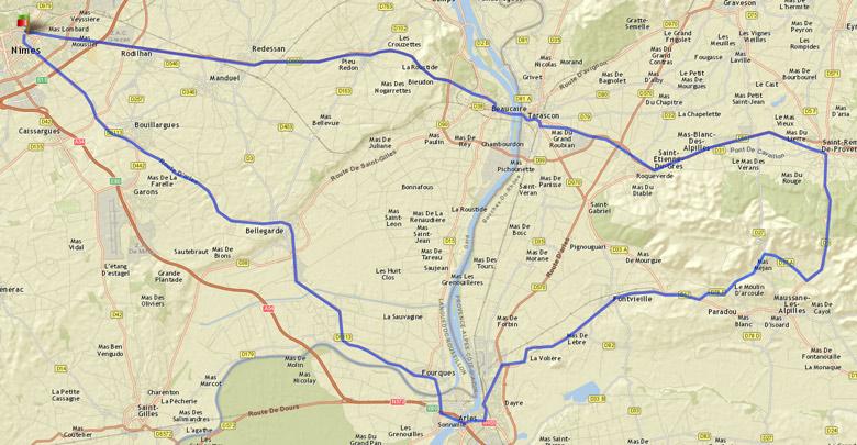 Streckenführung der Rundtour Nîmes Tarascon Arles Nîmes im Rahmen einer Motorradtour durch Provence und Camargue