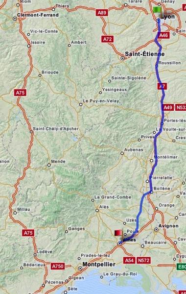 Streckenführung der Anfahrt Lyon-Nîmes zu einer Motorradtour durch Provence und Camargue