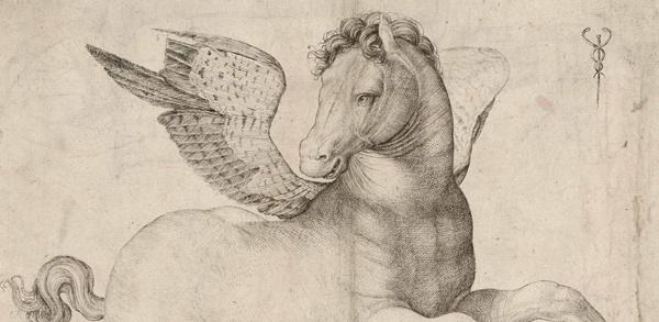 Bild von einem Pegasus als fleischgewordene Mobilität nach einem Kupferstich von Jacopo de' Barbari um 1510 als Aufforderung, körperlich fit für die Motorradsaison zu werden