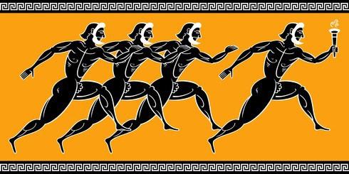 Bild einer antiken Darstellung von vier griechischen Läufern mit schwarzen Körpern auf gelbem Untergrund