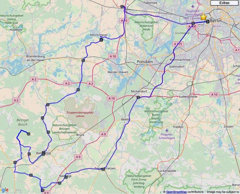 Motorrad-Tourenplan Hoher Fläming für eine Tagestour durch das Naturschutzgebiet im Lkr. Potsdam-Mittelmark in Brandenburg