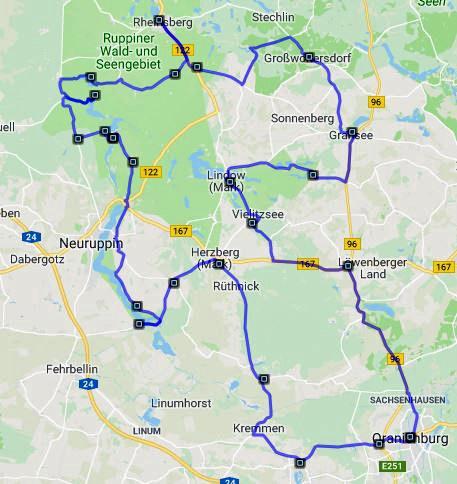 Streckenplan Motorradtour Land Ruppin