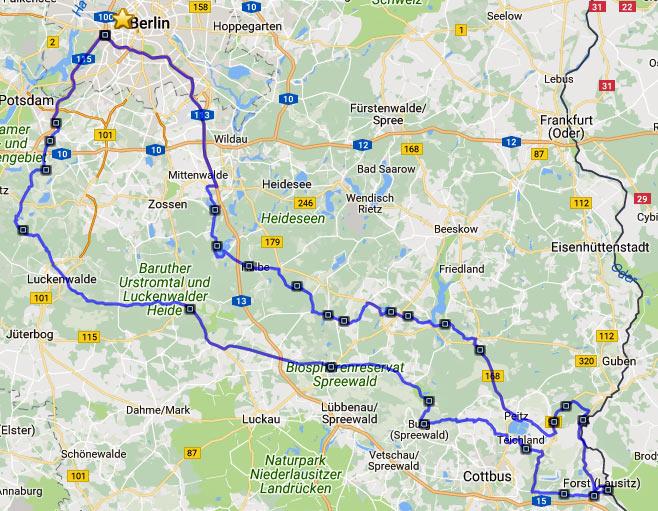 Streckenführung der Motorradtour durch Spreewald und Tagebaue