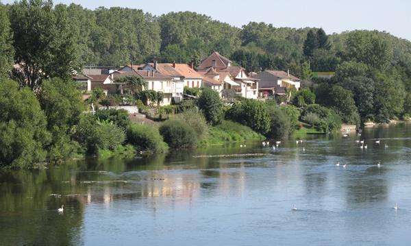 Bild vom Dordogne Übergang bei Lalinde in Südwesrfrankreich mit dem Dorf am bewaldeten Ufer und weißen Schwänen auf dem Fluss