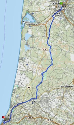 Streckenkarte einer Motorradtour Südwestfrankreich Teil 1 von Bordeaux nach Biarritz 7. Etappe