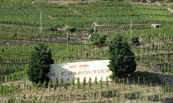 Weinlage St-Joseph an den Côtes-du-Rhône am rechten Flussufer südlich von Tournon-sur-Rhône mit einem Schild der Domaine M. Chapoutier