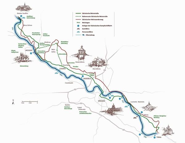 Sächsische Weinstrasse im Streckenverlauf von Diesbar-Seußlitz bis Pirna entlang der Elbe, gefahren bei einer Motorradtour durch die Sächsische Schweiz