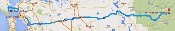 Karte der 1. Etappe der Motorradtour Rocky Mountains