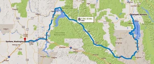 Karte der 11. Etappe Motorradtour Rocky Mountains