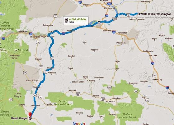 Karte der 13. Etappe Motorradtour Rocky Mountains