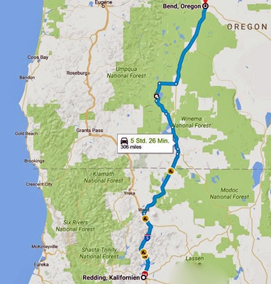 Karte der 14. Etappe Motorradtour Rocky Mountains