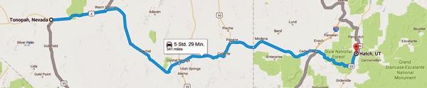 Karte der 3. Etappe Motorradtour Rocky Mountains