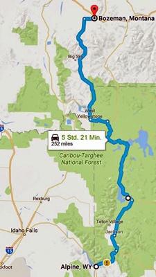 Karte der 7. Etappe Motorradtour Rocky Mountains
