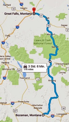 Karte der 9. Etappe Motorradtour Rocky Mountains