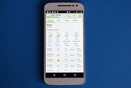 Startbild der Agrar Wetter App als Beispiel für eine praktische App für Motorradfahrer