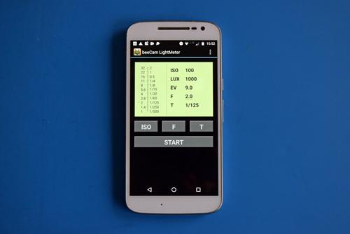 Startbild der Smartphone-App beeCam als Belichtungsmesser für die analoge Fotografie als Beispiel für mehr Apps für Motorradtouren