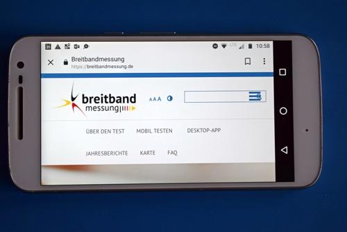 Startseite der App Breitbandmessung der Bundesnetzagentur als Beispiel für mehr Apps für Motorradtouren