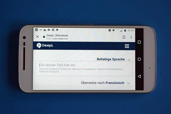 Startbild der Smartphone App DeepL