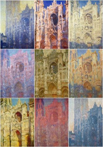 Zusammenstellung der verschiedenfarbigen Gemälde von Claude Monet mit der Kathedrale von Rouen