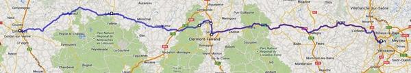 Streckenplan der 1. Etappe Motorradtour Frankreich an den Atlantik von Lyon nach Limoges