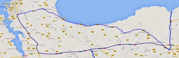 Streckenplan 12. Etappe Motorradtour durch Frankreich an den Atlantik zum Mont St-Michel