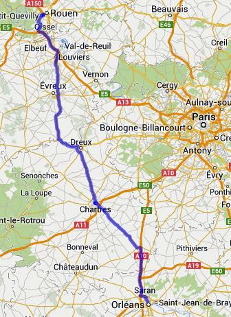 15. Etappe einer Motorradtour durch Frankreich zum Atlantik von Rouen nach Orléans