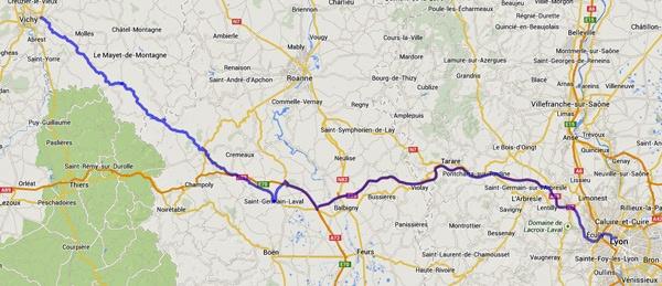 Streckenplan 16. Etappe Motorradtour durch Frankreich an den Atlantik von Vichy nach Lyon