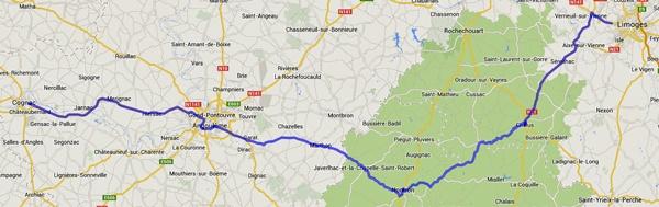 Streckenplan 2. Etappe einer Motorradtour durch Frankreich an den Atlantik von Limoges nach Cognac