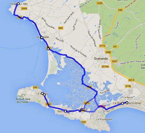 Streckenplan 5. Etappe einer Motorradtour durch Frankreich an den Atlantik an der Côte Sauvage