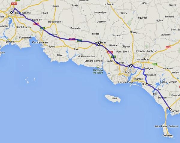Streckenplan 8. Etappe Motorradtour durch Frankreich an den Atlantik von Carnac nach Quimper