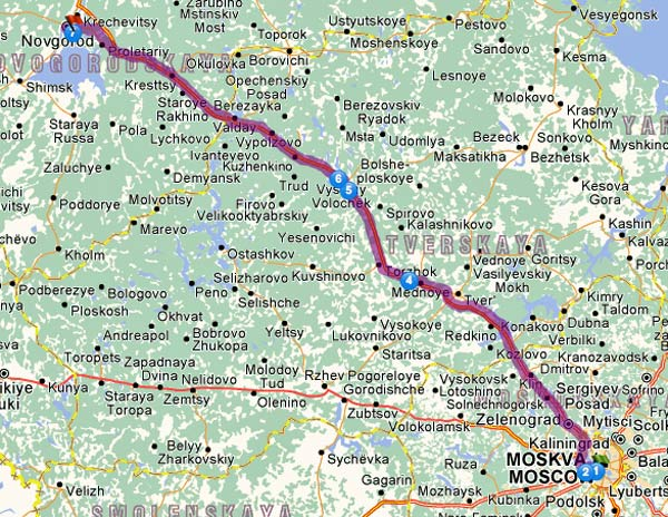1. Etappe Moskau-Nowgorod einer Motorradtour von Moskau nach Lyon