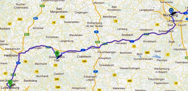 13. Etappe Nürnberg-Ludwigsburg einer Motorradtour von Moskau nach Lyon