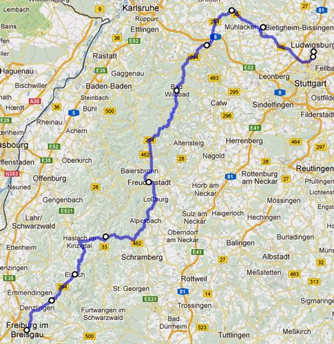 15. Etappe Ludwigsburg-Freiburg einer Motorradtour von Moskau nach Lyon