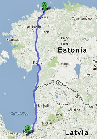 5. Etappe Tallinn-Riga einer Motorradtour von Moskau nach Lyon